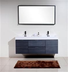 Bliss 60 Gray Oak Mount Double Sink Modern Bathroom Vanity