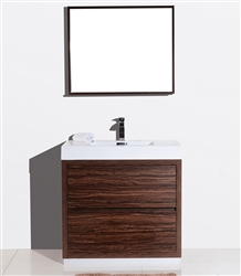 bliss 36 walnut floor mount modern bathroom vanity. Black Bedroom Furniture Sets. Home Design Ideas