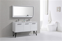 bosco 60 high gloss white modern bathroom vanity w quartz countertop and matching mirror. Black Bedroom Furniture Sets. Home Design Ideas