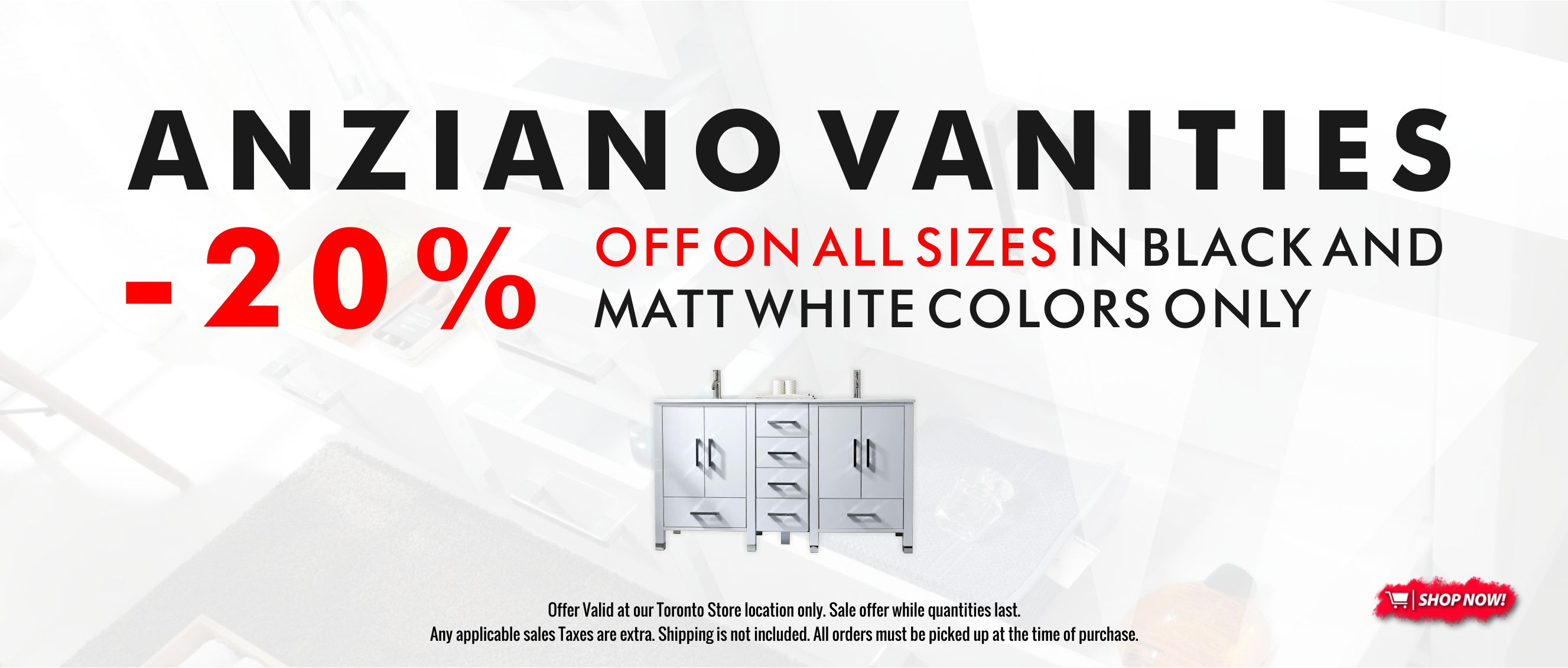 Warehouse Clearance On All Matt White And Matt Black Anziano Vanities And Mirrors Are Currently On Sale 20 Off